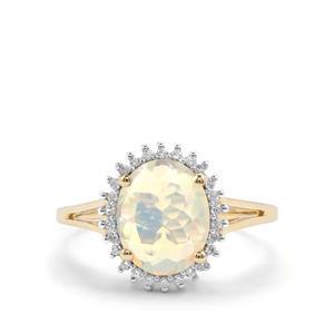 Ethiopian Opal & White Zircon 10K Gold Ring ATGW 1.57cts