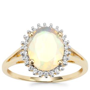 Ethiopian Opal Ring with White Zircon in 10K Gold 1.57cts