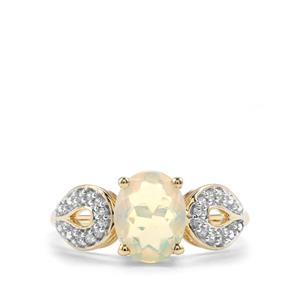 Ethiopian Opal Ring with White Zircon in 10K Gold 1.23cts