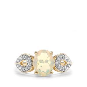 Ethiopian Opal & White Zircon 10K Gold Ring ATGW 1.23cts