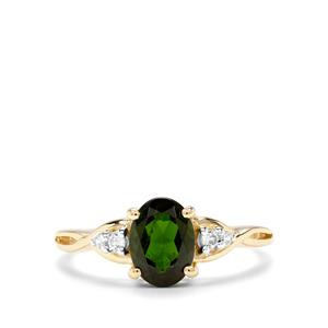 Chrome Diopside & White Zircon 9K Gold Ring ATGW 1.46cts