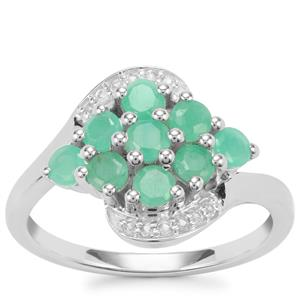 Carnaiba Brazilian Emerald Ring with White Topaz in Sterling Silver 1.08cts
