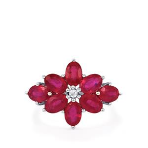 Malagasy Ruby & White Topaz Sterling Silver Ring ATGW 5.71cts (F)