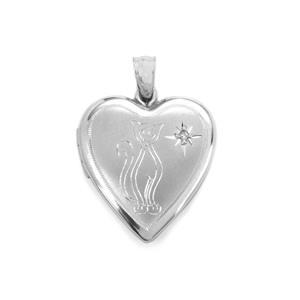 Diamond Cat Locket in Sterling Silver