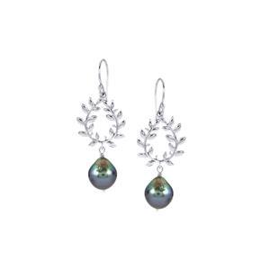Tahitian Cultured Pearl Earrings in Sterling Silver