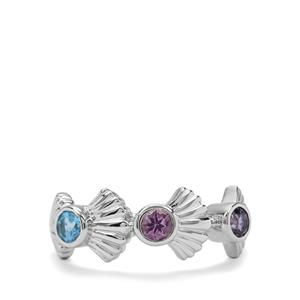 Swiss Blue Topaz, Bengal Iolite & Moroccan Amethyst Sterling Silver Ring ATGW 0.65cts