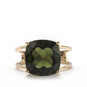 Moldavite Ring in 10K Gold 5.75cts