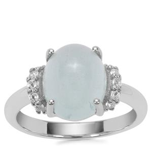 Aquamarine Ring with White Topaz in Sterling Silver 4.16cts