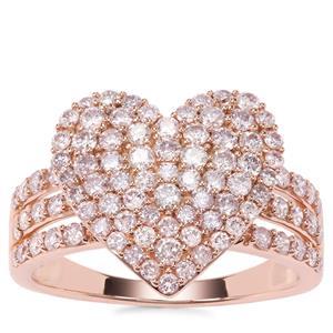 Pink Diamond Heart Ring in 9K Rose Gold 1.25ct