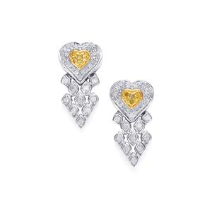 Yellow Diamond Earrings with White Diamond in Sterling Silver 1ct