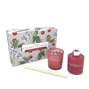 Gem Auras Cherry Blossom Candle & Reed Diffuser Set with Red Jasper 60cts