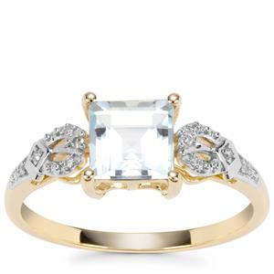 Pedra Azul Aquamarine Ring with Diamond in 9K Gold 0.97ct