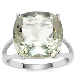 Prasiolite Ring in Sterling Silver 10.19cts