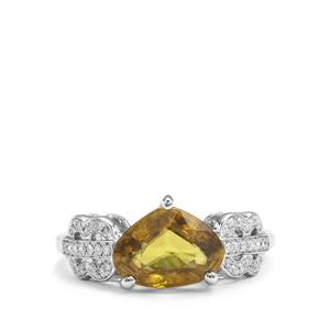 Ambilobe Sphene Ring with Diamond in 18K White Gold 2.67cts
