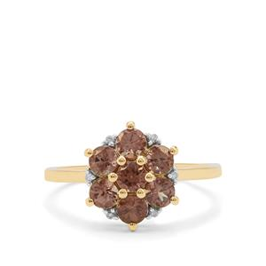 Bekily Colour Change Garnet Ring with Diamond in 9K Gold 1.40cts