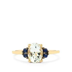 Espirito Santo Aquamarine & Sri Lankan Sapphire 9K Gold Ring ATGW 1.16cts