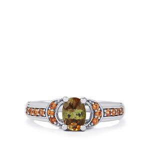 Gouveia Andalusite & Cognac Zircon Sterling Silver Ring ATGW 1.07cts