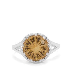 3.25ct Honeycomb Cut Champagne Quartz Sterling Silver Ring