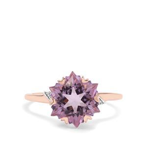 Wobito Snowflake Cut Rose De France Amethyst & Diamond 9K Rose Gold Ring ATGW 4.17cts