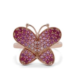 Pink Sapphire Butterfly Ring with Burmese Ruby in 9K Rose Gold 1.25cts
