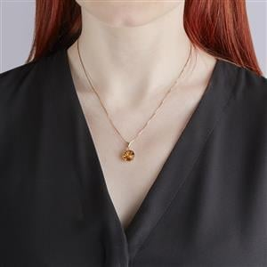 Lehrer KaleidosCut Rio Golden Citrine, Madagascan Ruby Pendant with Diamond in 10K Gold 2.91cts (F)