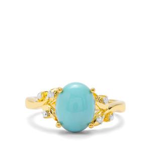 Sleeping Beauty Turquoise & Diamond Midas Ring ATGW 2.47cts