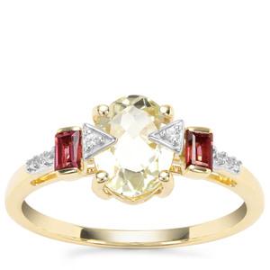 Minas Novas Hiddenite, Rajasthan Garnet Ring with White Zircon in 9K Gold 1.93cts