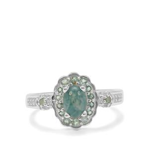 Grandidierite, Alexandrite Ring with White Zircon in Sterling Silver 1.35cts