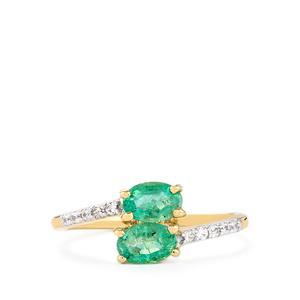Zambian Emerald & White Zircon 9K Gold Ring ATGW 0.95cts