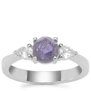 Rose Cut Tanzanite Ring with White Zircon in Sterling Silver 1.50cts