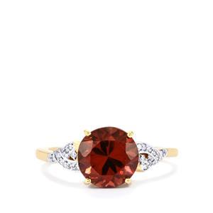 Zanzibar Zircon Ring with Diamond in 14k Gold 4.65cts