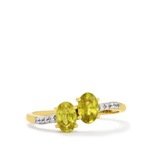 Ambilobe Sphene Ring with White Zircon in 10k Gold 1.13cts
