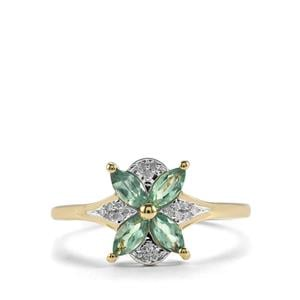 Alexandrite Ring with Diamond in 10K Gold 0.61ct