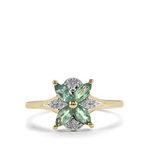 Alexandrite & Diamond 9K Gold Ring ATGW 0.61cts