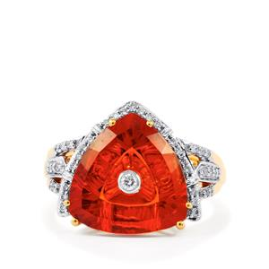 Lehrer TorusRing Tarocco Red Andesine Ring with Diamond in 18k Gold 4.67ct