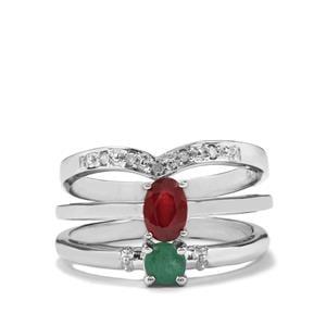 Malagasy Ruby, Sakota Emerald & Diamond Sterling Silver Set of 3 Stacker Rings ATGW 0.76cts (F)