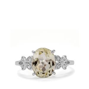 Minas Novas Hiddenite & Diamond 9K White Gold Ring ATGW 2.89cts