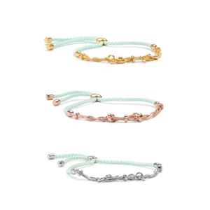Sterling Silver Milano Slider Bracelet Mint Cord