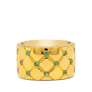 Tsavorite Garnet Ring in Gold Plated Sterling Silver 0.65ct