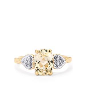 Ice Kunzite & Ceylon White Sapphire 10K Gold Ring ATGW 2.51cts