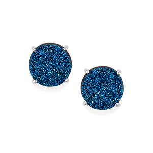 Titanium Blue Drusy Earrings in Sterling Silver 11.22cts