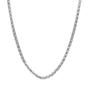 "24"" Sterling Silver Tempo Diamond Cut Round Box Slider Chain 3.33g"
