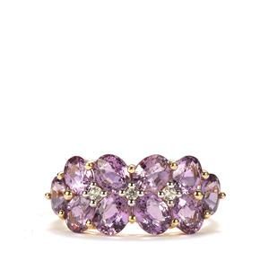 Natural Purple Sapphire Ring with White Zircon in 10K Gold 4.12cts