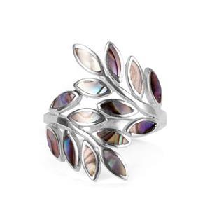 Paua Sterling Silver Leaf Ring