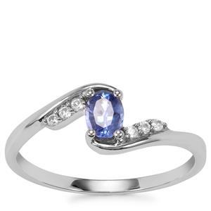 Ceylon Sapphire Ring with White Zircon in 10K White Gold 0.46ct