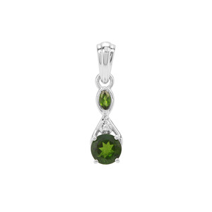 Chrome Diopside Pendant with White Zircon in Sterling Silver 1.02ct