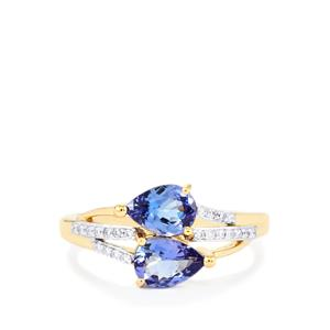 AAA Tanzanite Ring with Diamond in 18k Gold 0.55ct 1.69cts