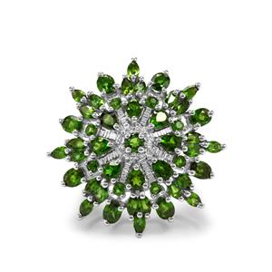 Chrome Diopside & White Topaz Sterling Silver Ring ATGW 5cts