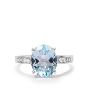 Sky Blue Topaz & White Topaz Sterling Silver Ring ATGW 4.06cts