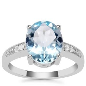 Sky Blue Topaz Ring with White Topaz in Sterling Silver 4.06cts